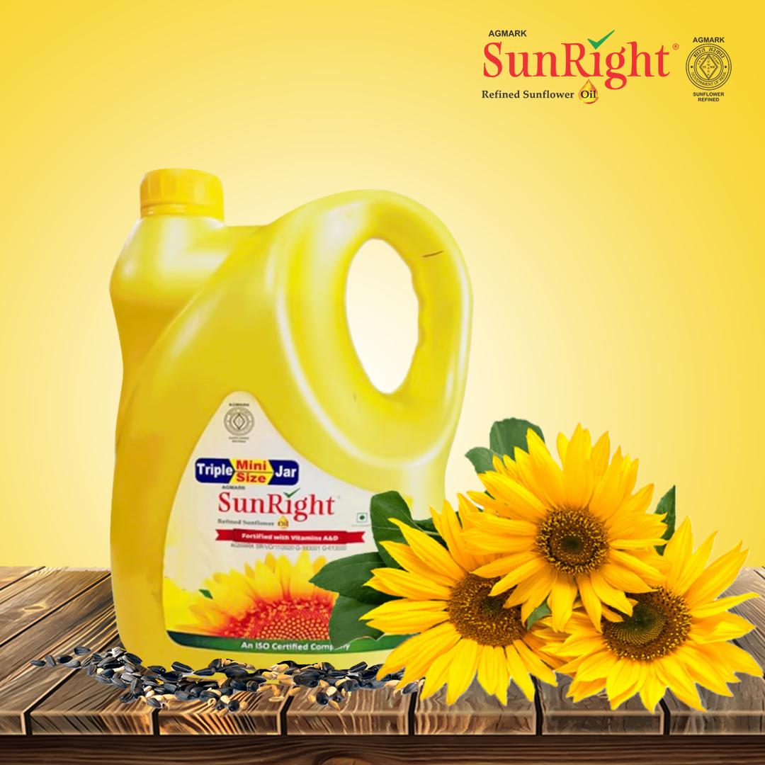 Sunright Refined Sunflower Oil 3 Litre can